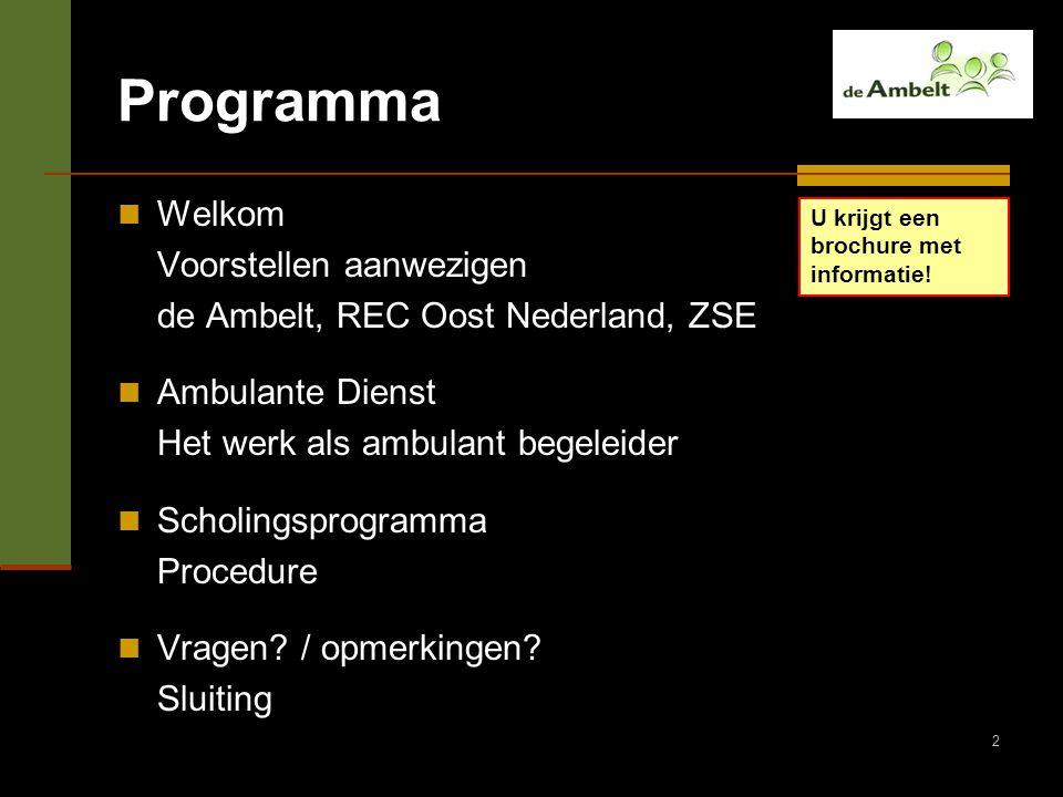 Programma Welkom Voorstellen aanwezigen