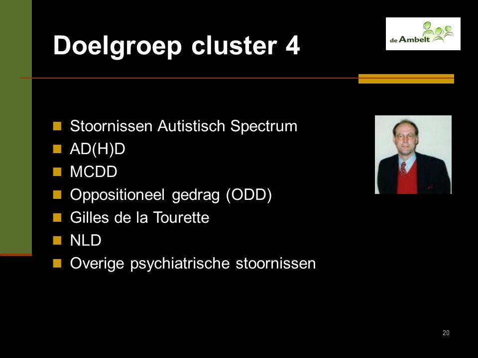 Doelgroep cluster 4 Stoornissen Autistisch Spectrum AD(H)D MCDD