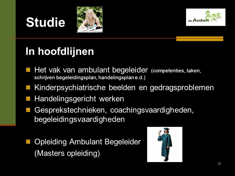Studie In hoofdlijnen. Het vak van ambulant begeleider (competenties, taken, schrijven begeleidingsplan, handelingsplan e.d.)
