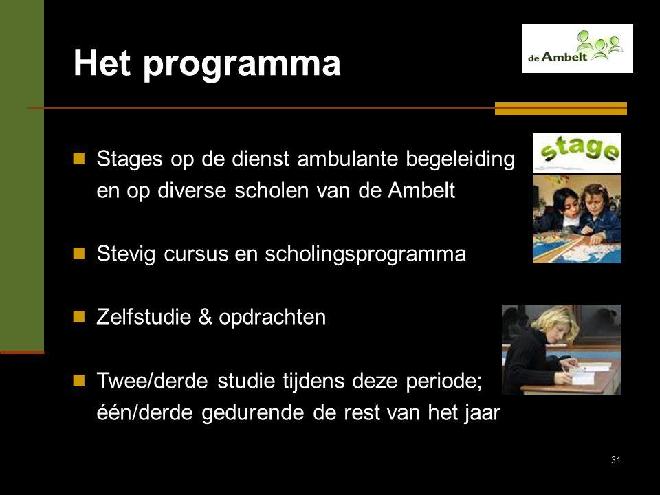 Het programma Stages op de dienst ambulante begeleiding