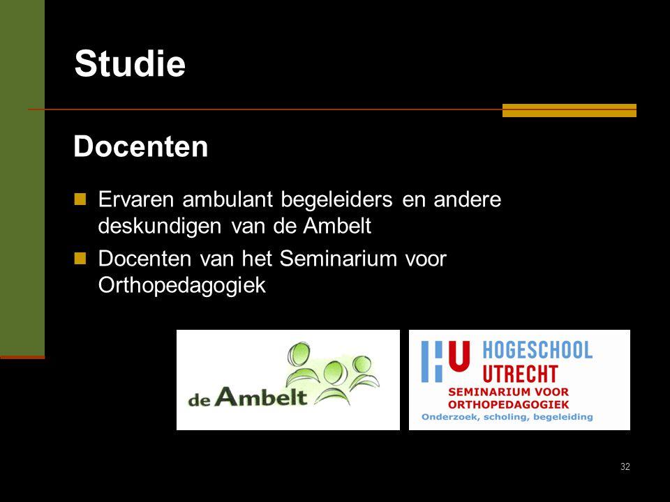 Studie Docenten. Ervaren ambulant begeleiders en andere deskundigen van de Ambelt.