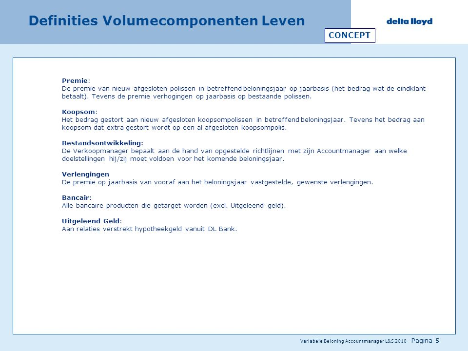 Definities Volumecomponenten Leven