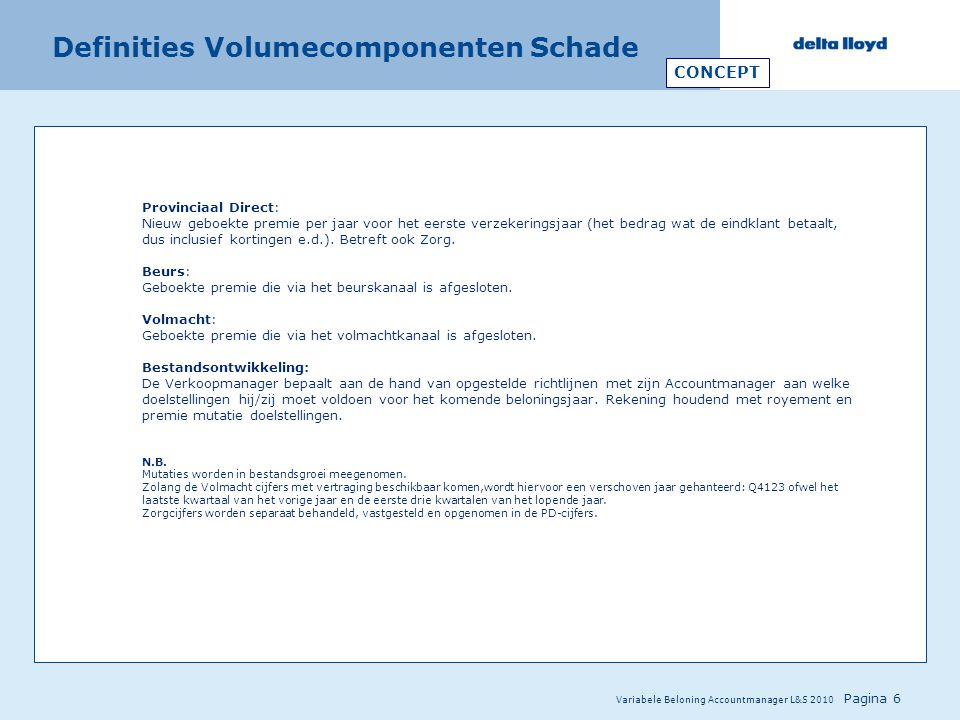 Definities Volumecomponenten Schade