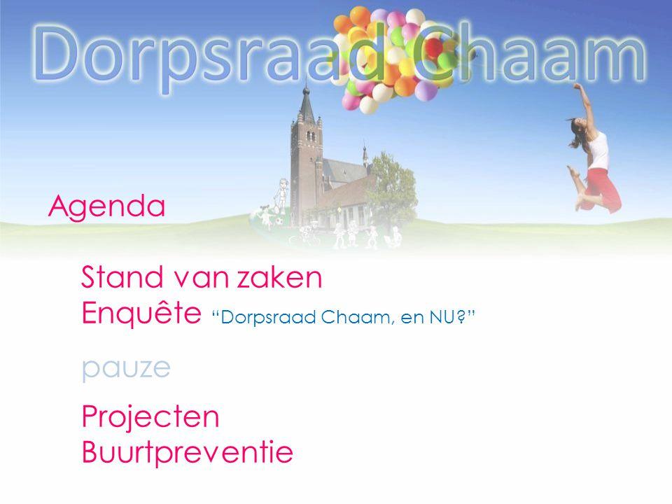 Agenda Stand van zaken Enquête Dorpsraad Chaam, en NU pauze Projecten Buurtpreventie