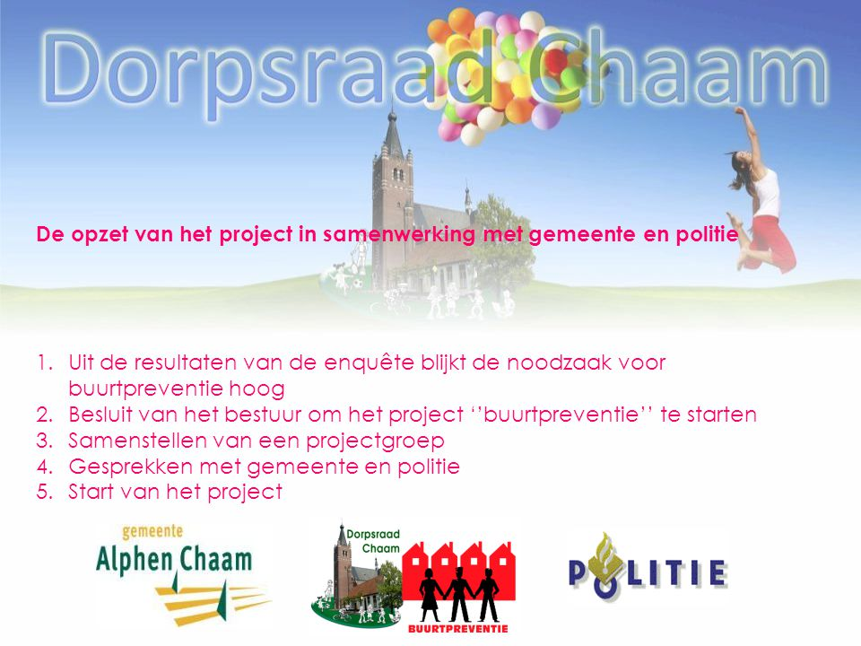 De opzet van het project in samenwerking met gemeente en politie