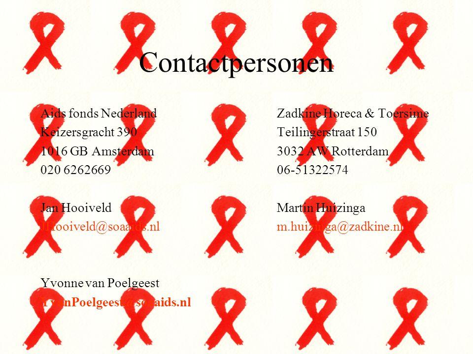 Contactpersonen Aids fonds Nederland Zadkine Horeca & Toersime