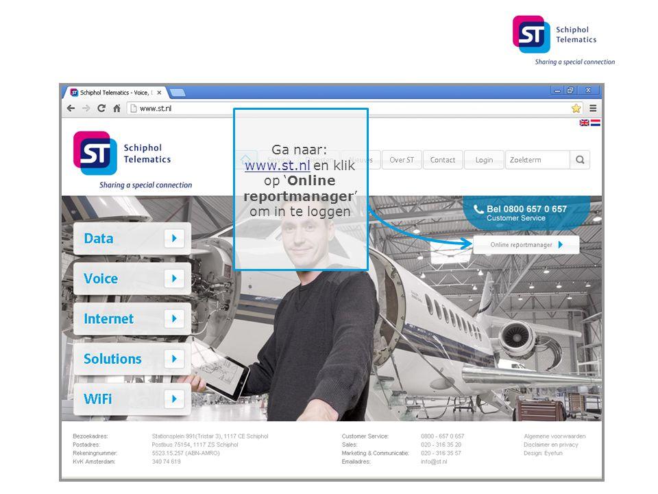 Ga naar: www.st.nl en klik op 'Online reportmanager' om in te loggen