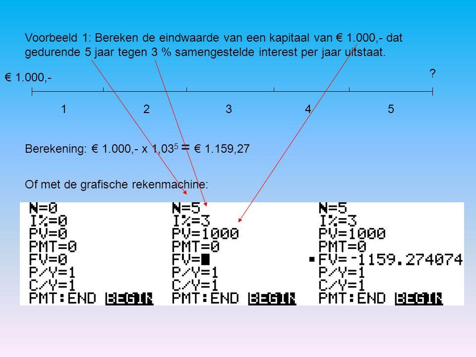 Voorbeeld 1: Bereken de eindwaarde van een kapitaal van € 1