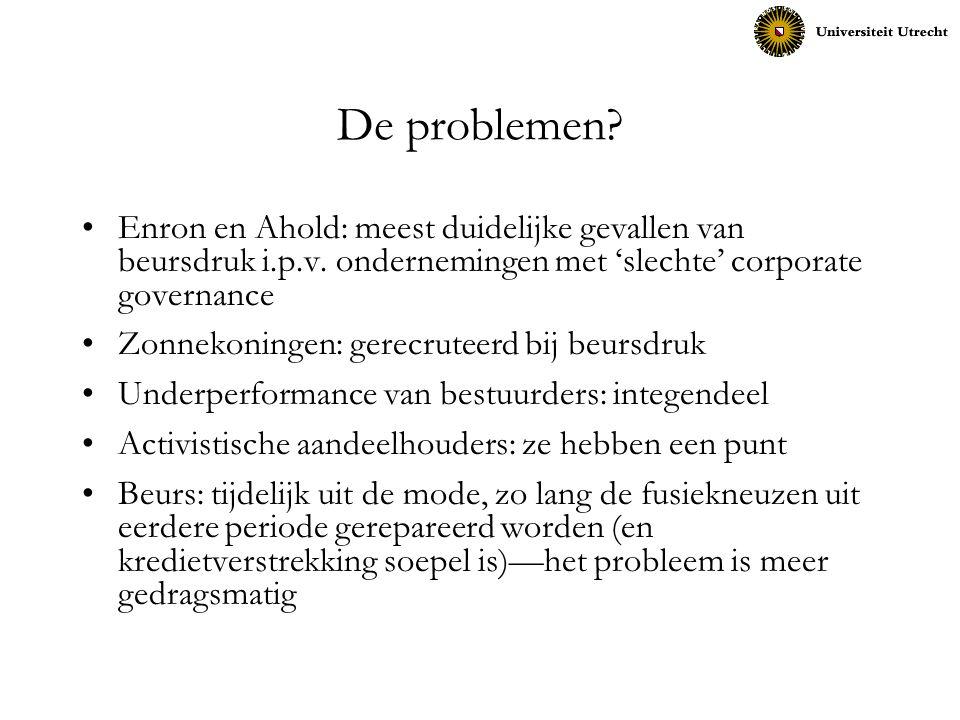 De problemen Enron en Ahold: meest duidelijke gevallen van beursdruk i.p.v. ondernemingen met 'slechte' corporate governance.