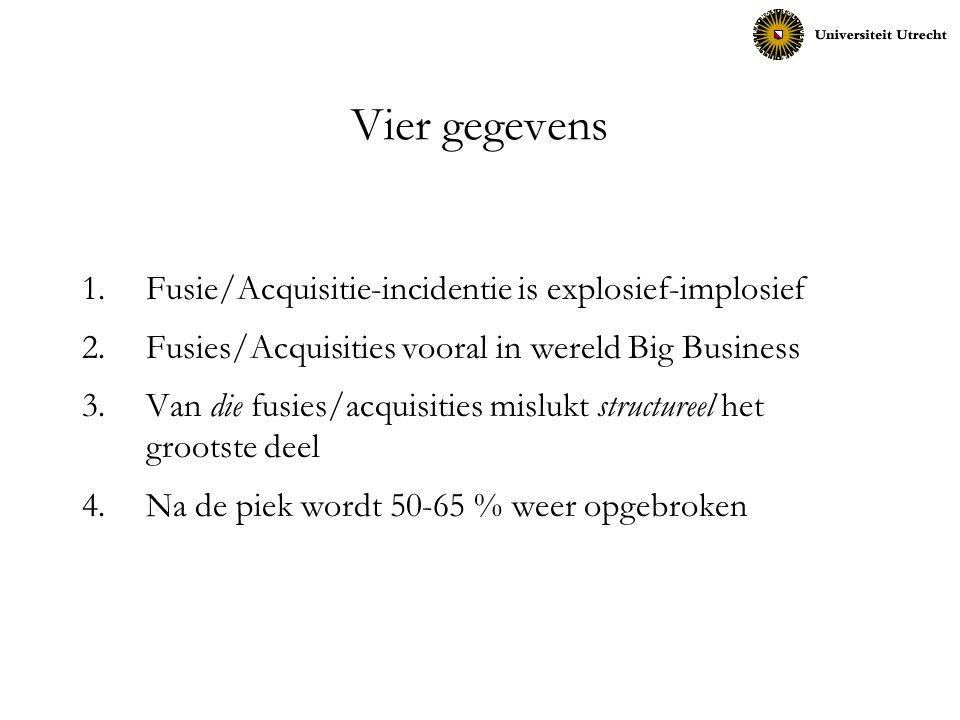 Vier gegevens Fusie/Acquisitie-incidentie is explosief-implosief