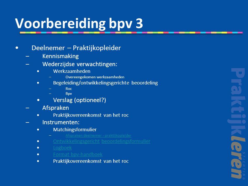Voorbereiding bpv 3 Deelnemer – Praktijkopleider Kennismaking