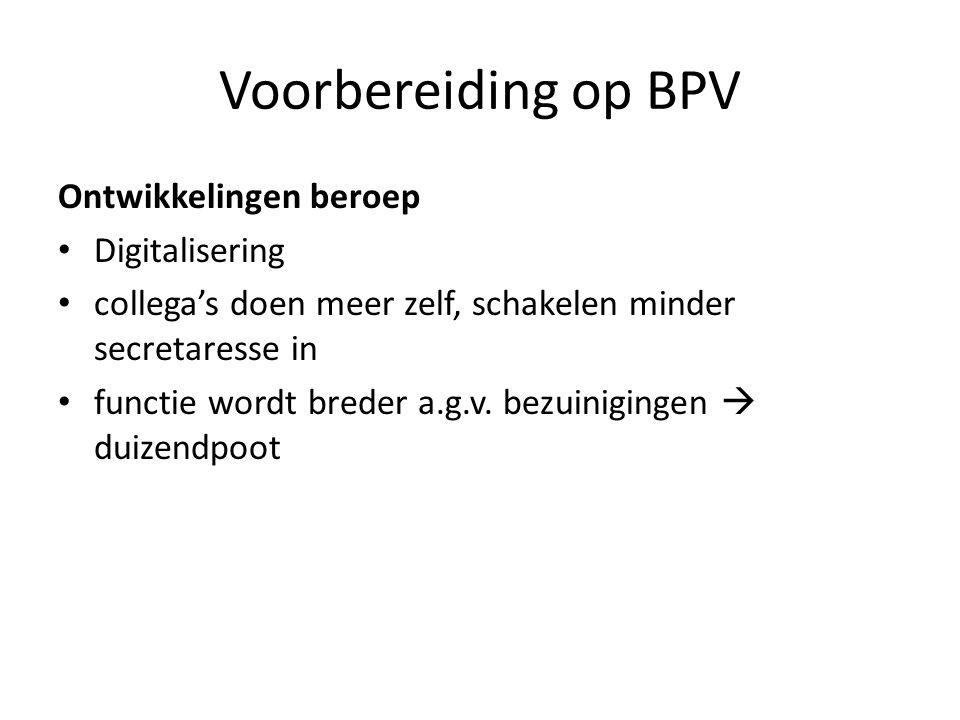 Voorbereiding op BPV Ontwikkelingen beroep Digitalisering
