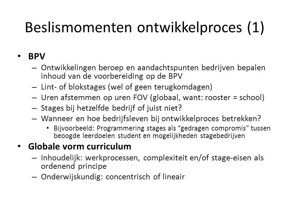 Beslismomenten ontwikkelproces (1)