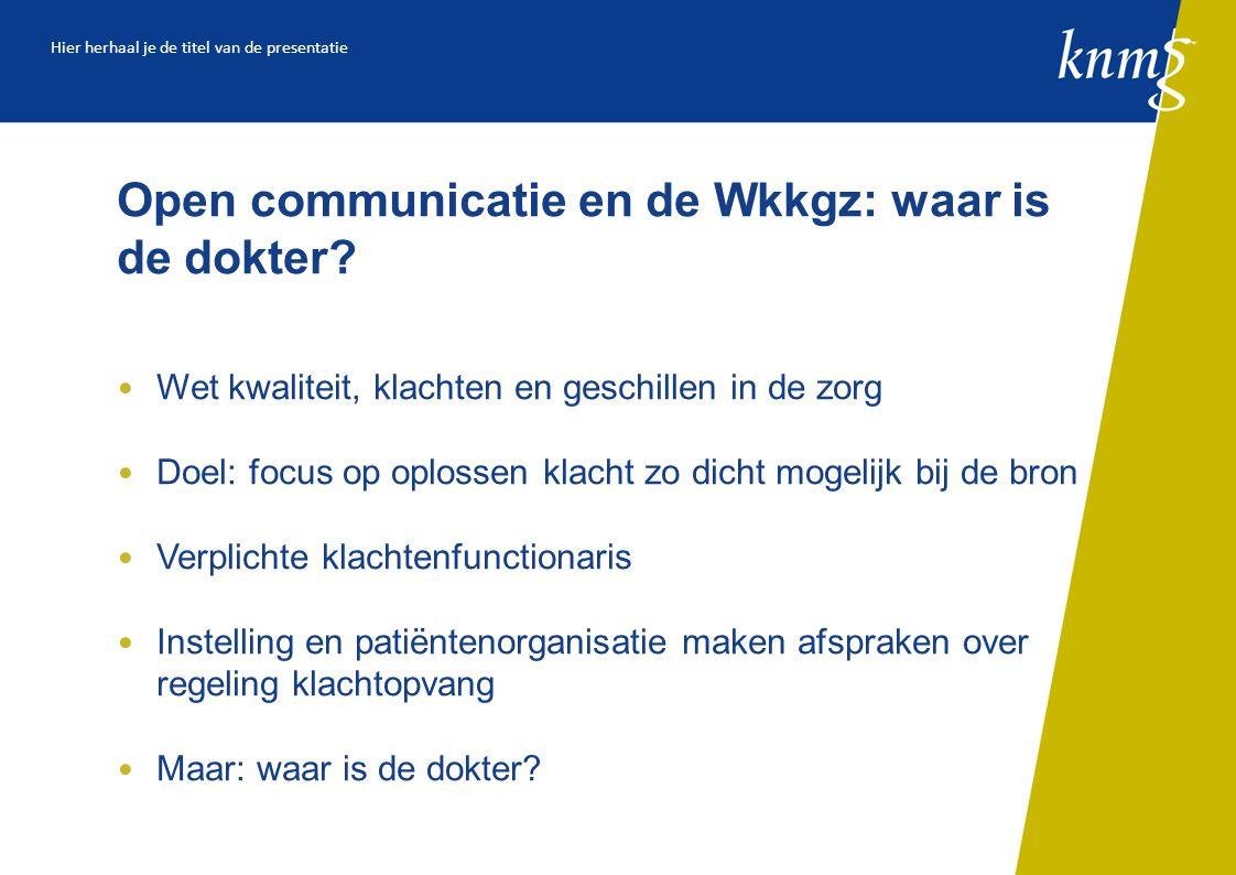 Open communicatie en de Wkkgz: waar is de dokter