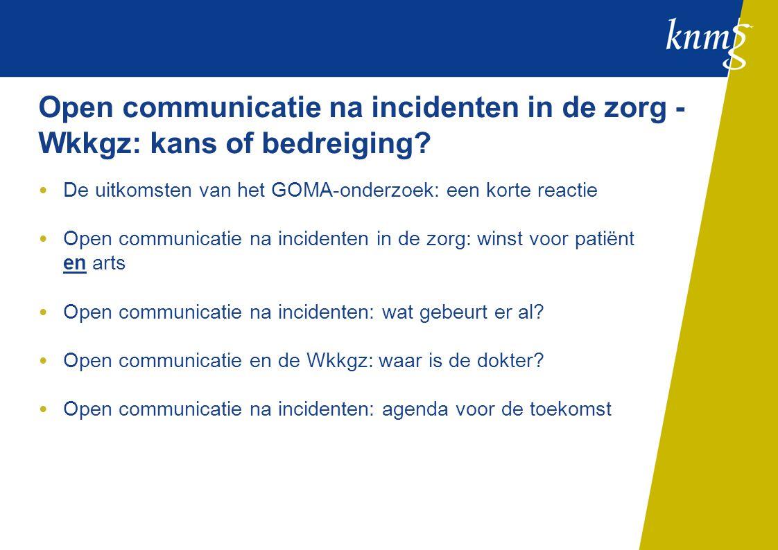 Open communicatie na incidenten in de zorg - Wkkgz: kans of bedreiging