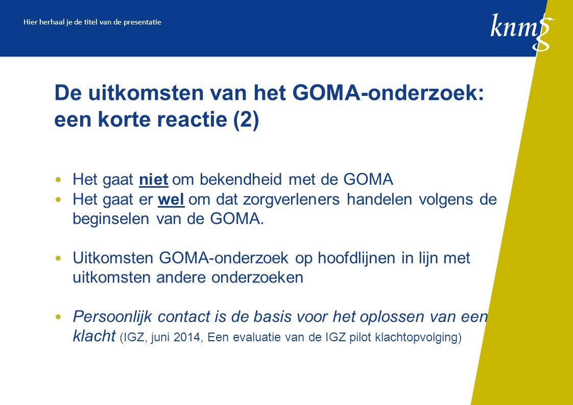 De uitkomsten van het GOMA-onderzoek: een korte reactie (2)