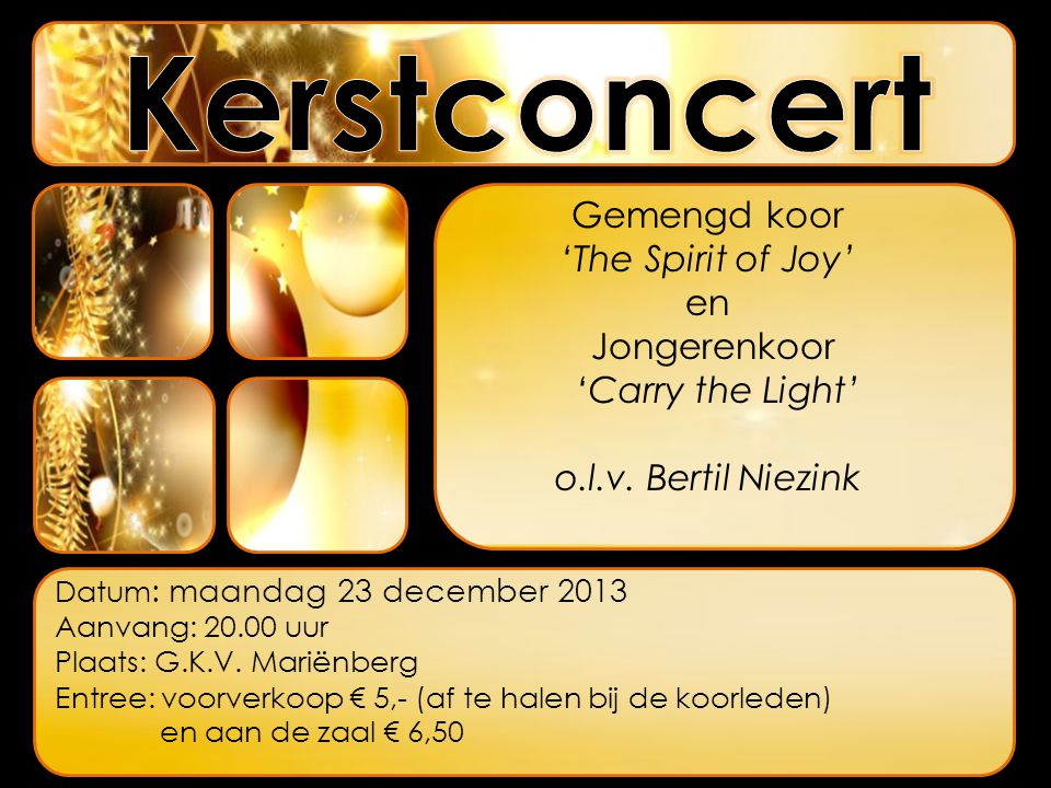 Kerstconcert Gemengd koor 'The Spirit of Joy' en Jongerenkoor
