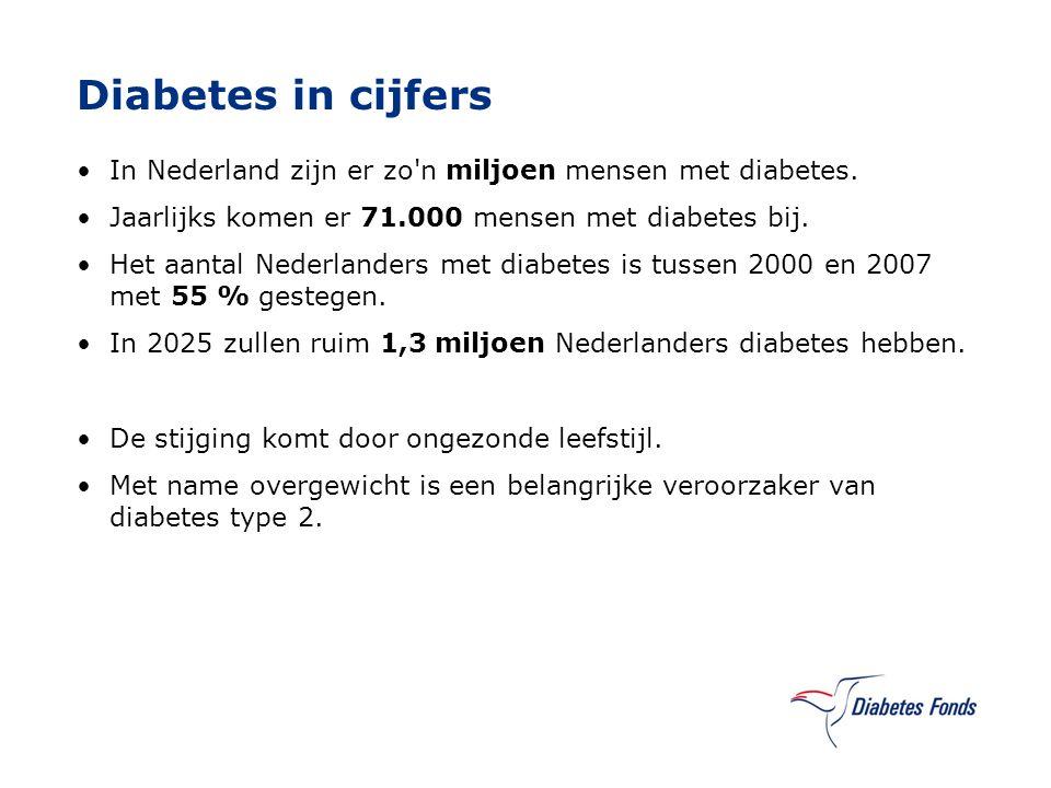 Diabetes in cijfers In Nederland zijn er zo n miljoen mensen met diabetes. Jaarlijks komen er 71.000 mensen met diabetes bij.