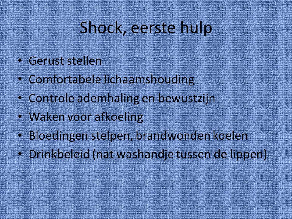 Shock, eerste hulp Gerust stellen Comfortabele lichaamshouding