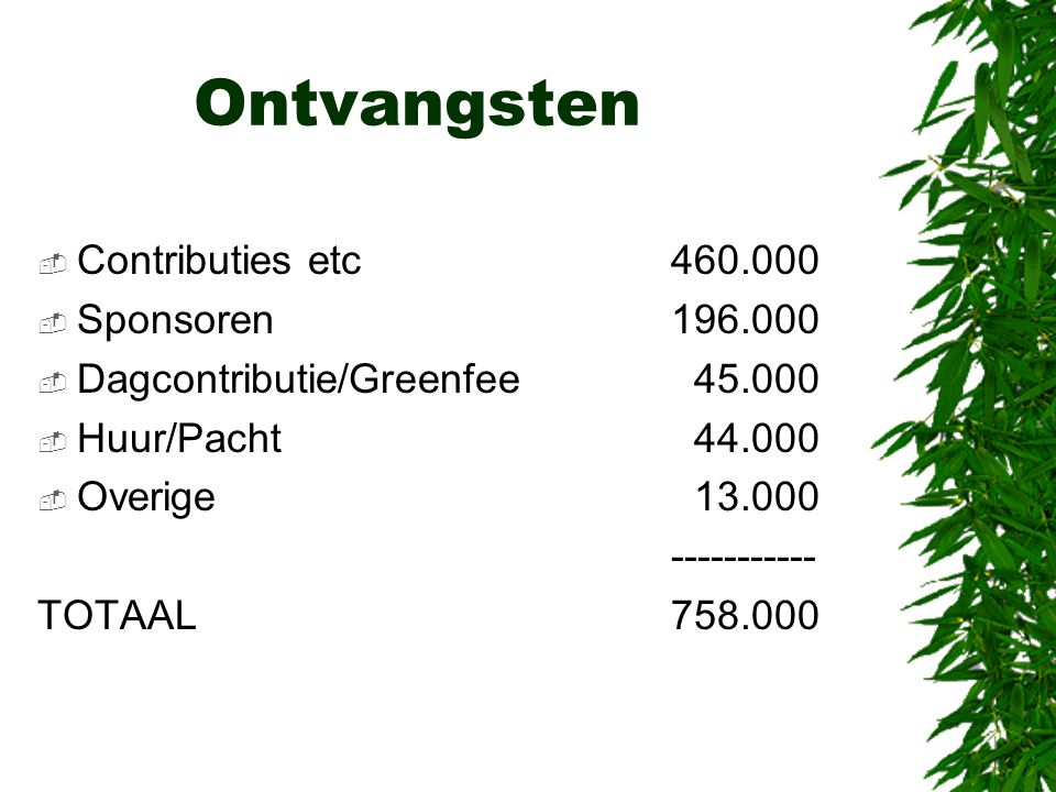 Ontvangsten Contributies etc 460.000 Sponsoren 196.000