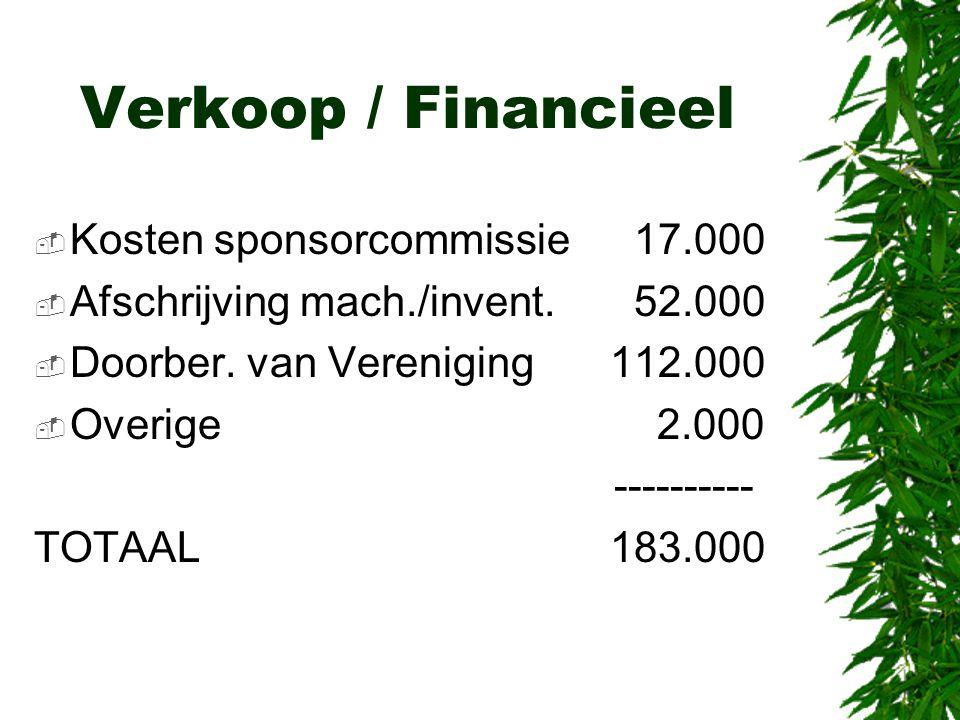 Verkoop / Financieel Kosten sponsorcommissie 17.000