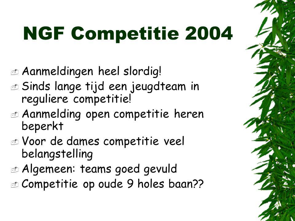 NGF Competitie 2004 Aanmeldingen heel slordig!