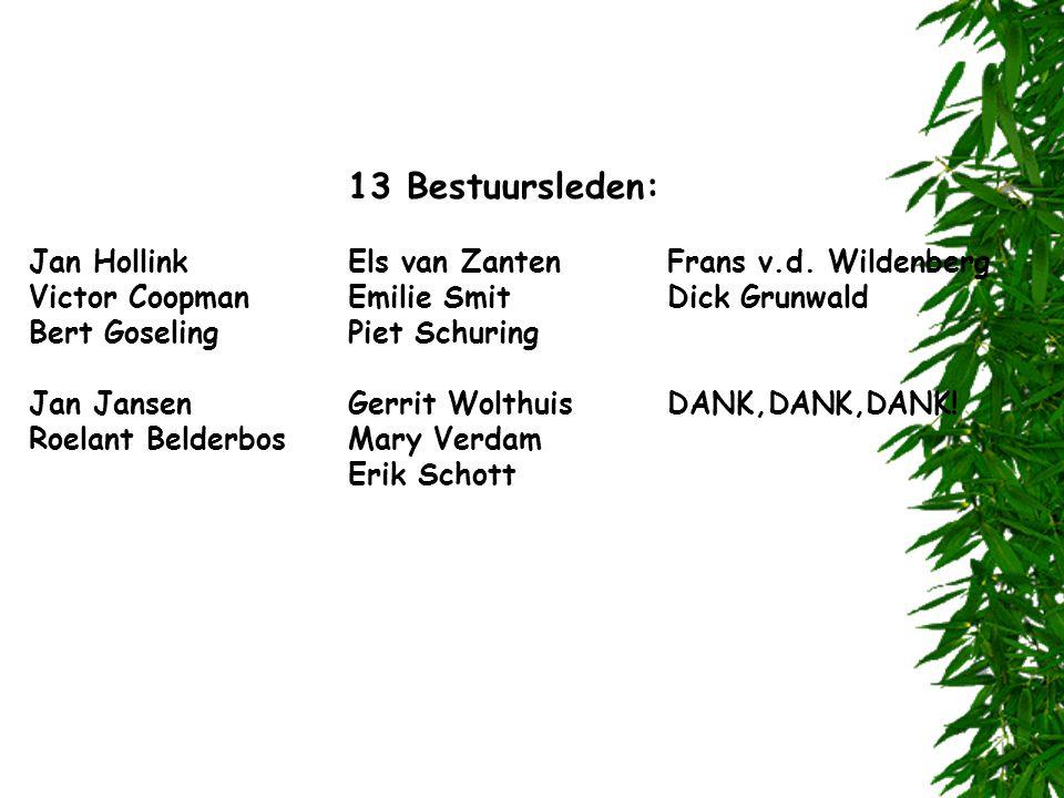 13 Bestuursleden: Jan Hollink Els van Zanten Frans v.d. Wildenberg. Victor Coopman Emilie Smit Dick Grunwald.