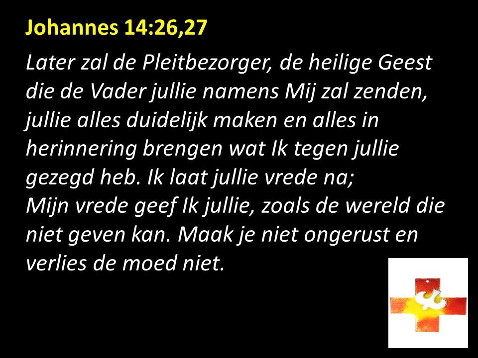 Johannes 14:26,27 Later zal de Pleitbezorger, de heilige Geest.