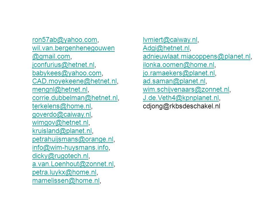 ron57ab@yahoo.com, wil.van.bergenhenegouwen@gmail.com, jconfurius@hetnet.nl, babykees@yahoo.com, CAD.moyekeene@hetnet.nl,