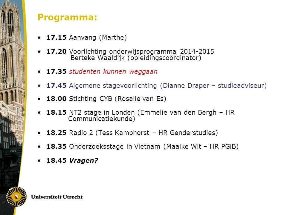 Programma: 17.15 Aanvang (Marthe)