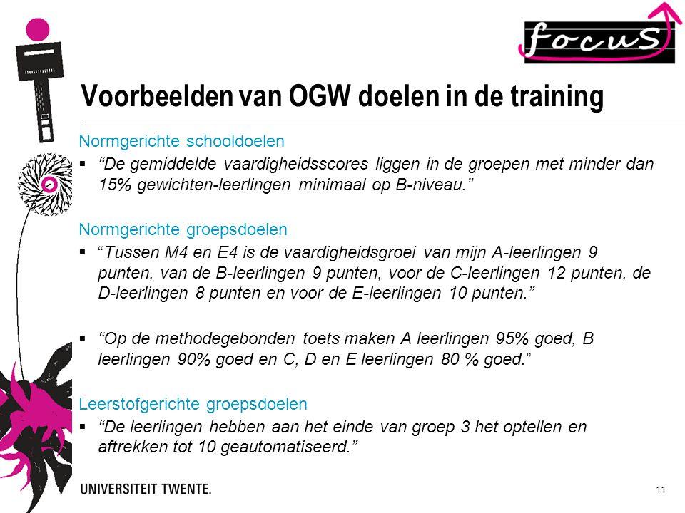 Voorbeelden van OGW doelen in de training
