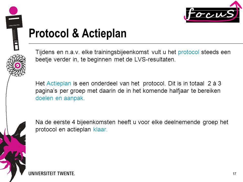 Protocol & Actieplan Tijdens en n.a.v. elke trainingsbijeenkomst vult u het protocol steeds een beetje verder in, te beginnen met de LVS-resultaten.