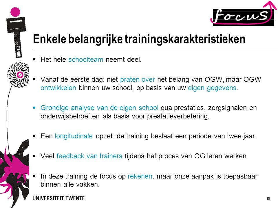 Enkele belangrijke trainingskarakteristieken