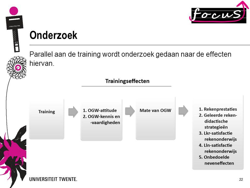 Onderzoek Parallel aan de training wordt onderzoek gedaan naar de effecten hiervan. 22