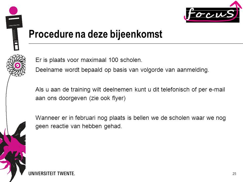 Procedure na deze bijeenkomst