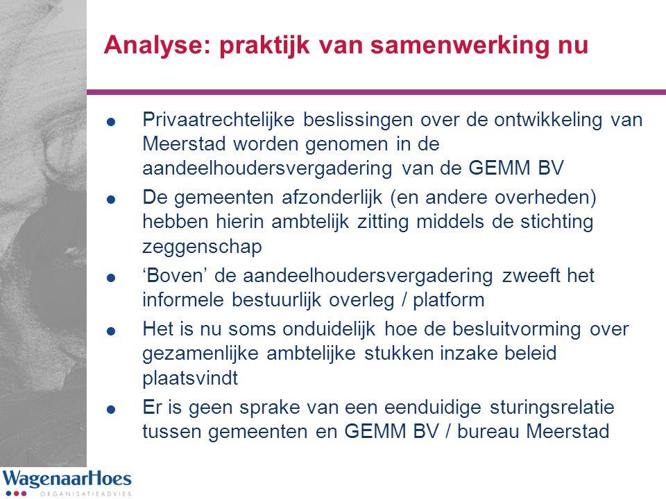 Analyse: praktijk van samenwerking nu