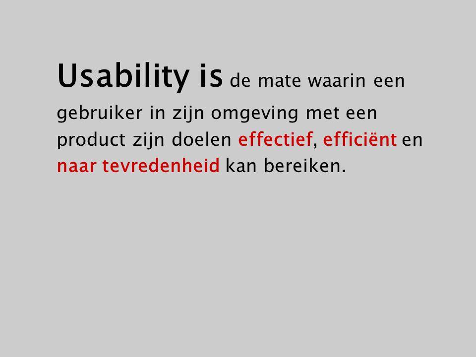 Usability is de mate waarin een gebruiker in zijn omgeving met een product zijn doelen effectief, efficiënt en naar tevredenheid kan bereiken.