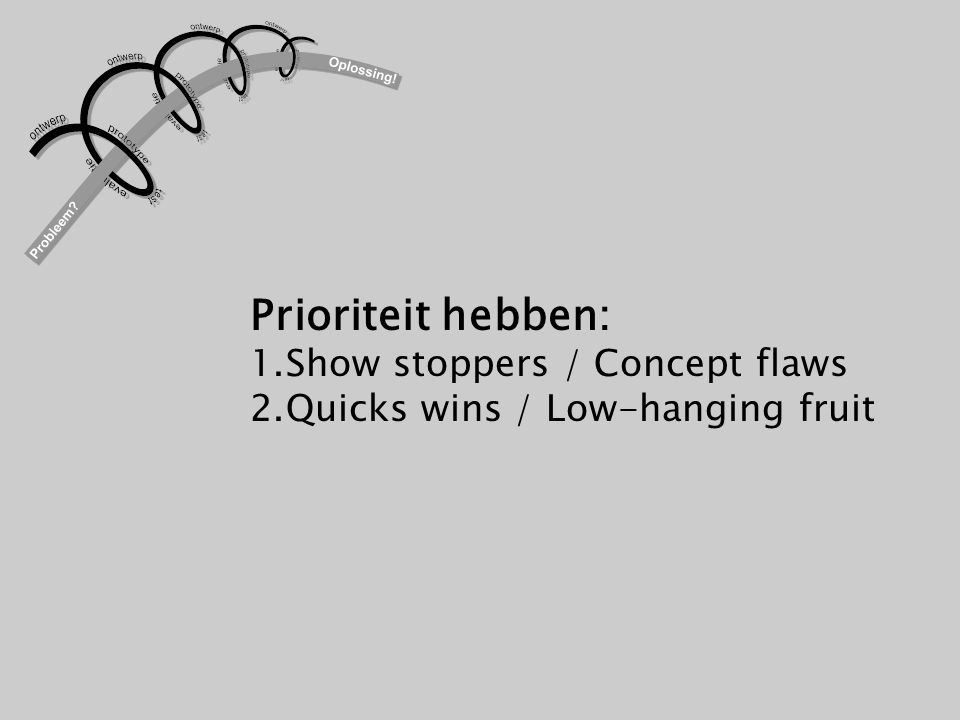 Prioriteit hebben: Show stoppers / Concept flaws