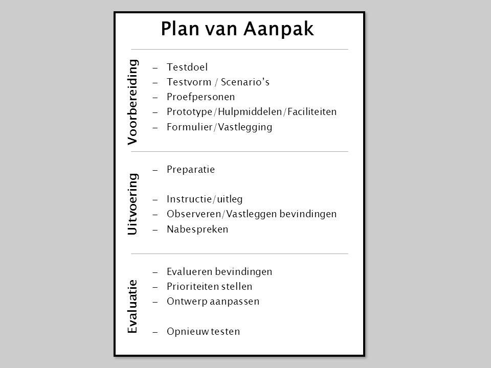 Plan van Aanpak Voorbereiding Uitvoering Evaluatie Testdoel