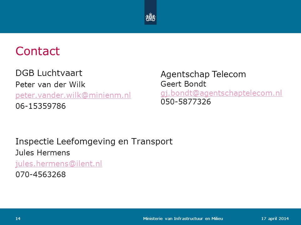 Contact DGB Luchtvaart Agentschap Telecom
