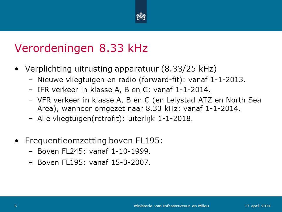 Verordeningen 8.33 kHz Verplichting uitrusting apparatuur (8.33/25 kHz) Nieuwe vliegtuigen en radio (forward-fit): vanaf 1-1-2013.