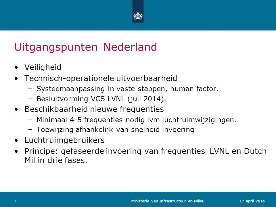 Uitgangspunten Nederland