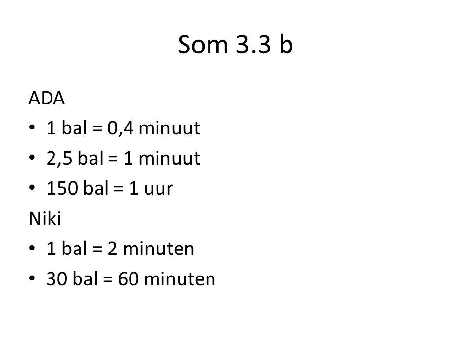 Som 3.3 b ADA 1 bal = 0,4 minuut 2,5 bal = 1 minuut 150 bal = 1 uur