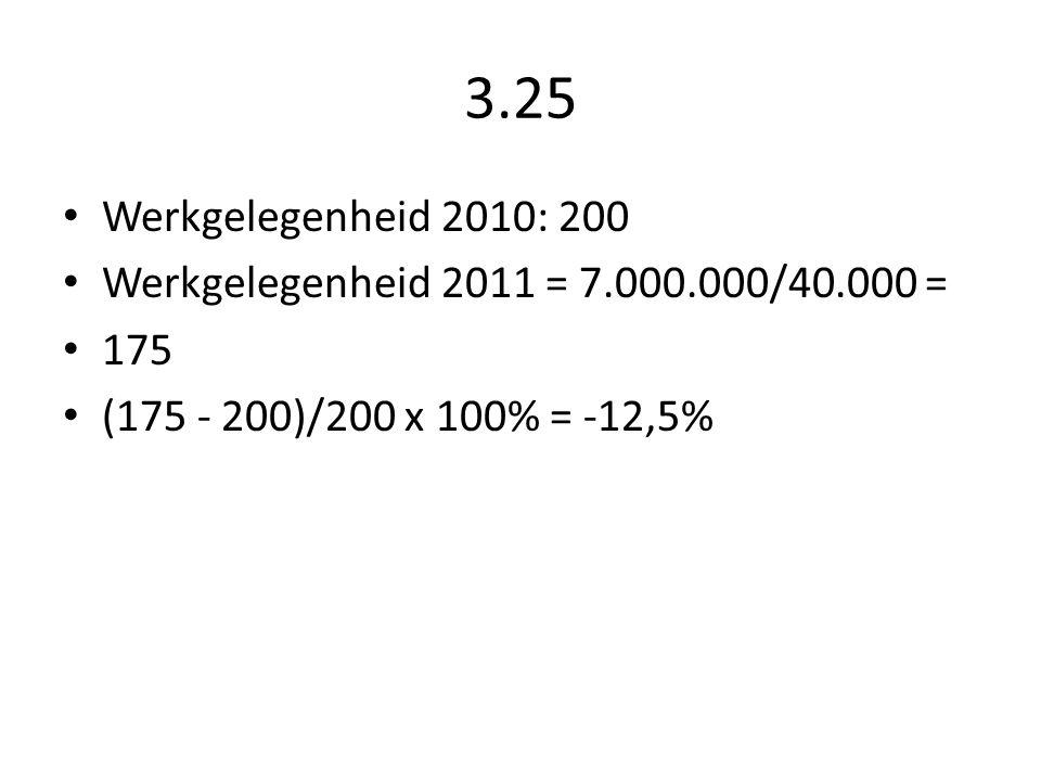 3.25 Werkgelegenheid 2010: 200. Werkgelegenheid 2011 = 7.000.000/40.000 = 175.