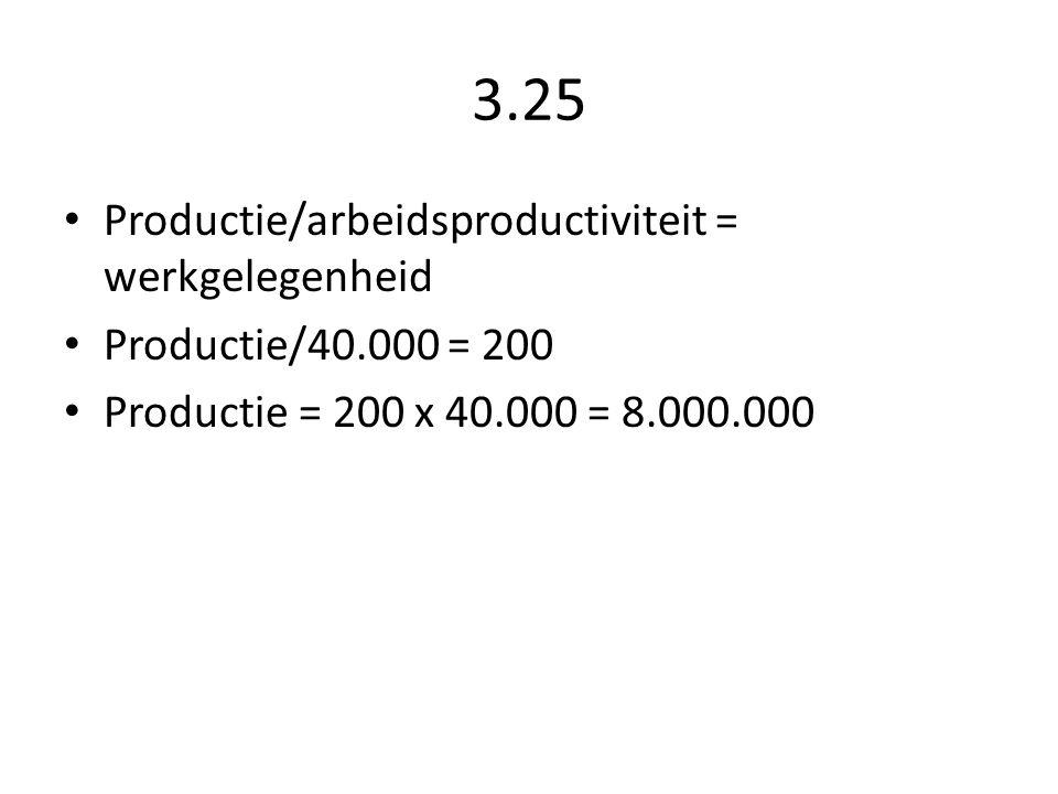 3.25 Productie/arbeidsproductiviteit = werkgelegenheid