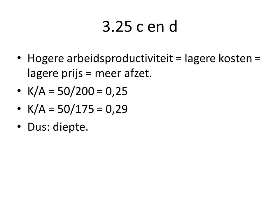 3.25 c en d Hogere arbeidsproductiviteit = lagere kosten = lagere prijs = meer afzet. K/A = 50/200 = 0,25.