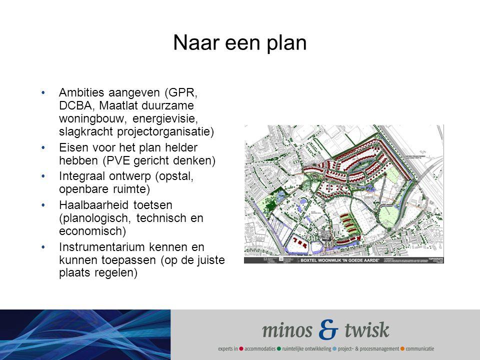 Naar een plan Ambities aangeven (GPR, DCBA, Maatlat duurzame woningbouw, energievisie, slagkracht projectorganisatie)