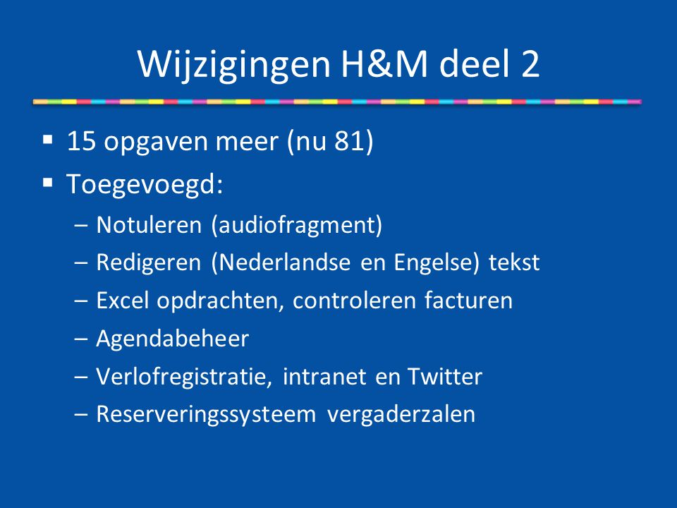 Wijzigingen H&M deel 2 15 opgaven meer (nu 81) Toegevoegd: