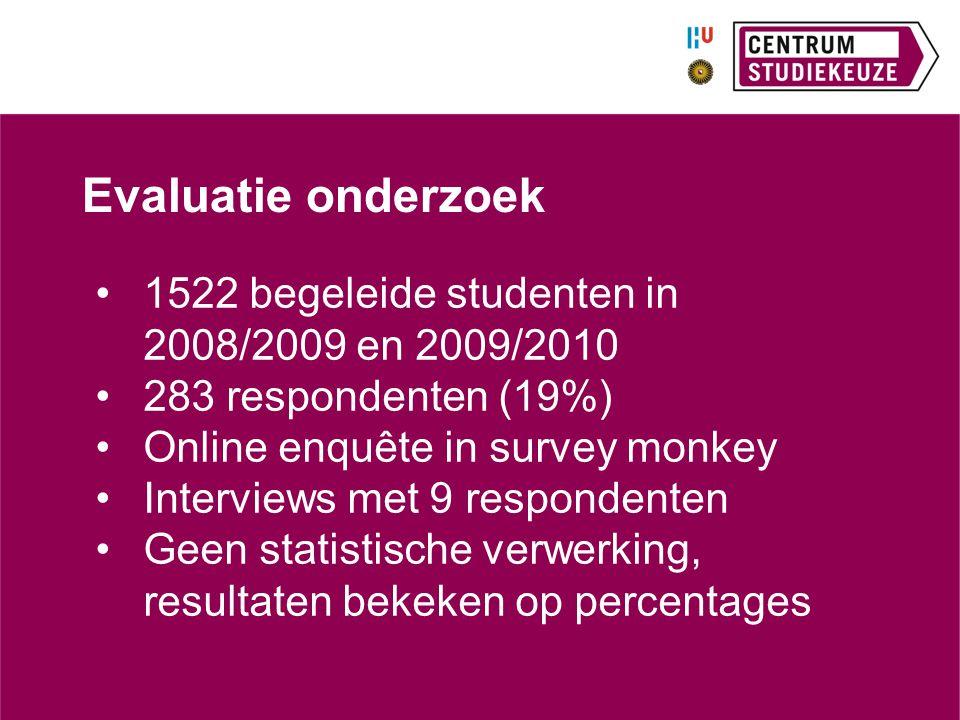 Evaluatie onderzoek 1522 begeleide studenten in 2008/2009 en 2009/2010