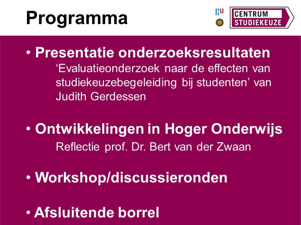 Programma Presentatie onderzoeksresultaten